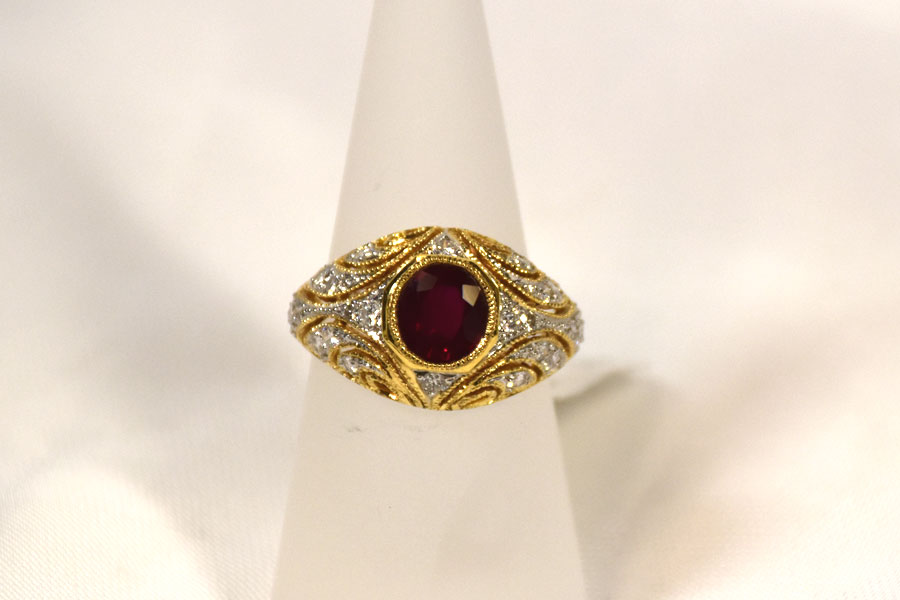 VIVID 1.6 CARAT RUBY DIAMOND RING