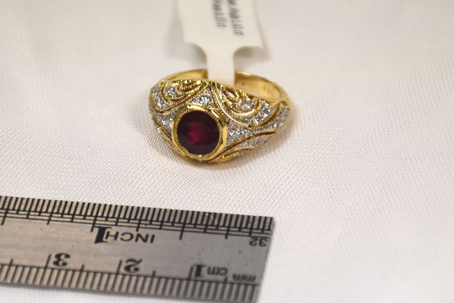 VIVID 1.6 CARAT RUBY DIAMOND RING