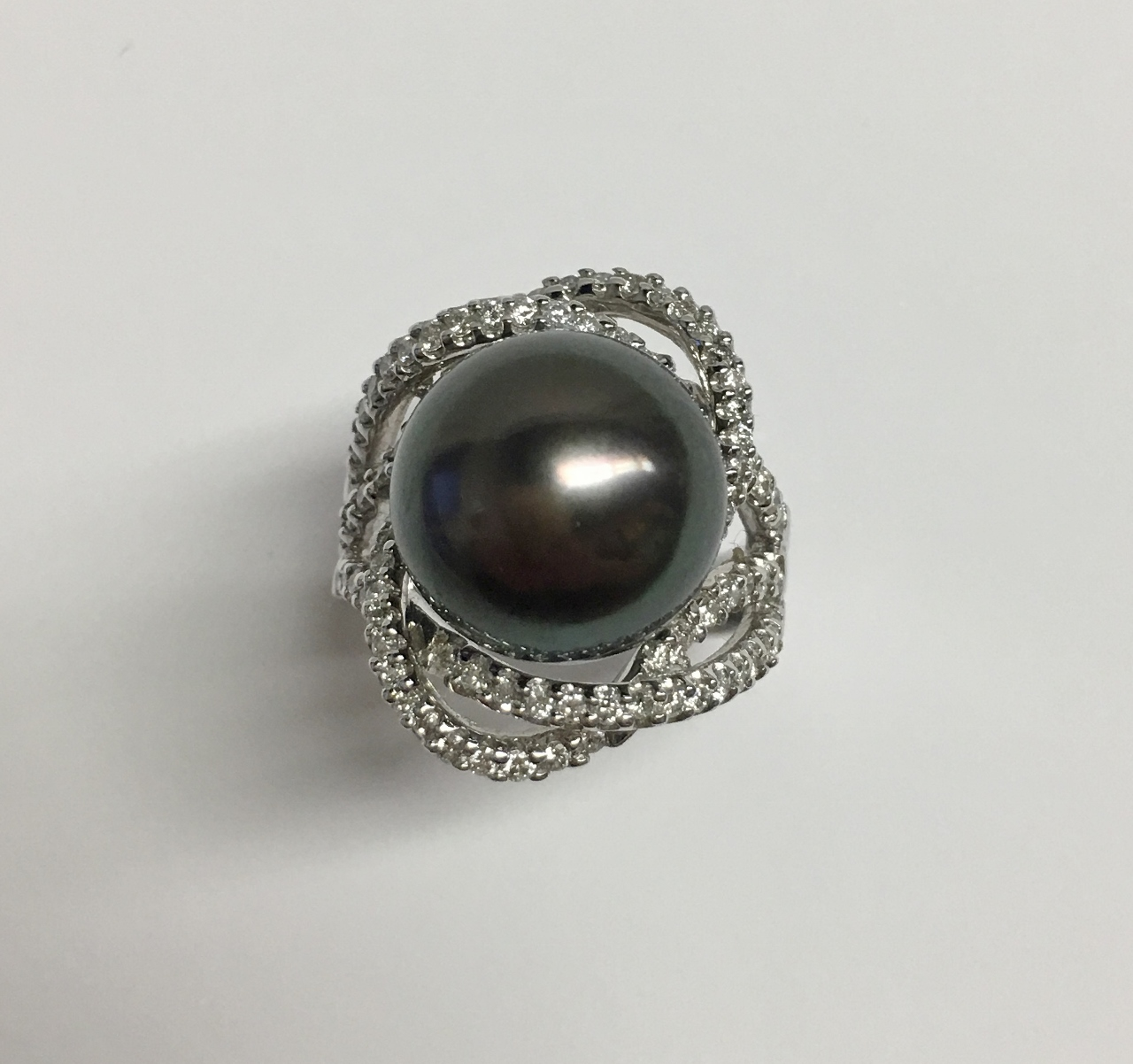 14.5 Millimeter Tahitian Pearl Diamond Ring
