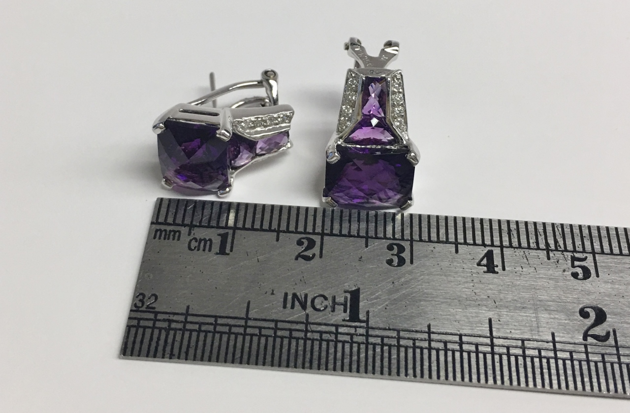 6 Carats Amethyst White Gold Earrings