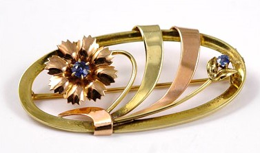 Graceful 14K Yellow and Rose Gold Brooch
