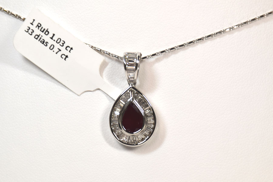 Majestic 18K White Gold Ruby and Diamond Pendant