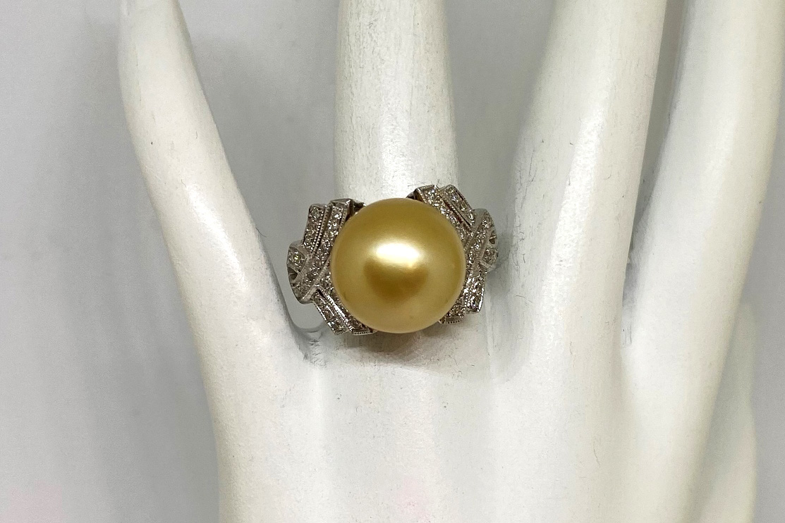 12.50 Millimeters Golden South Sea Pearl Ring