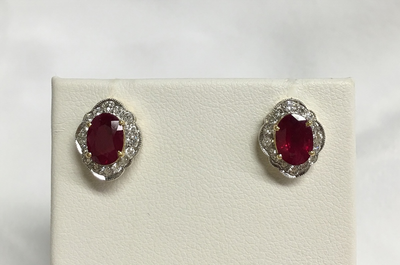 18K Two Tone 2 Carats Ruby Earrings