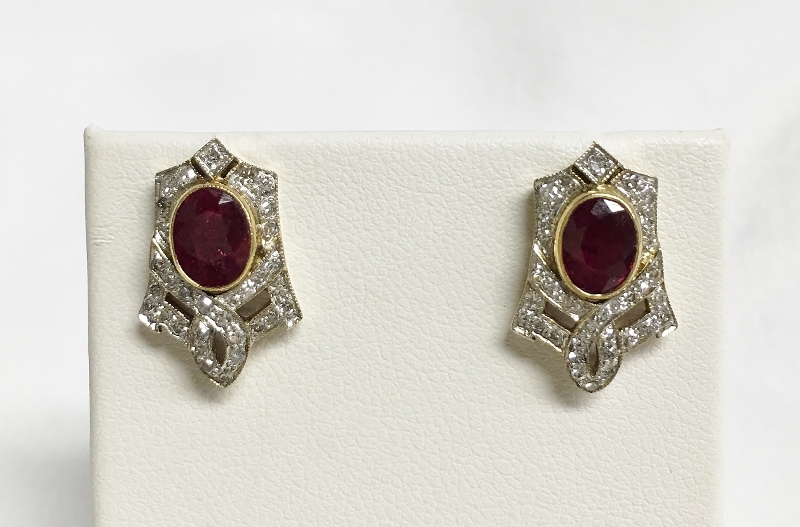 18K Yellow Gold 2 Carats Ruby Diamond Earrings