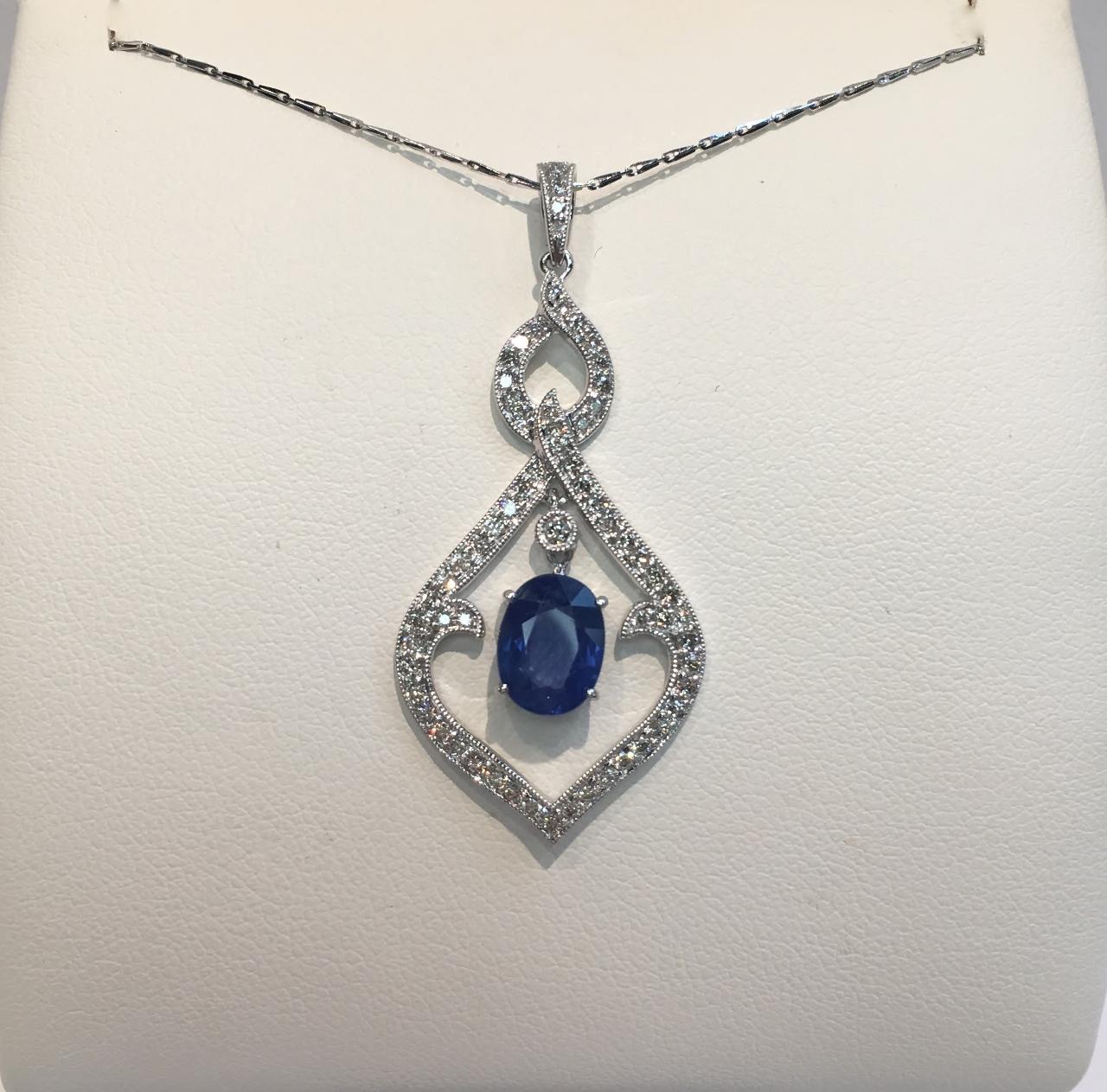 18K White Gold Sapphire Diamond Pendant