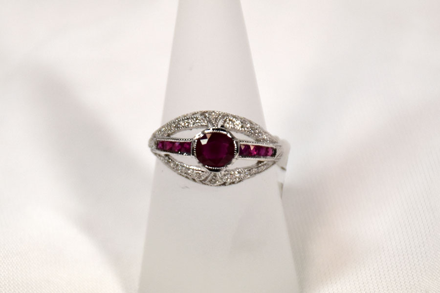 Gorgeous 18K White Gold Ruby and Diamond Ring