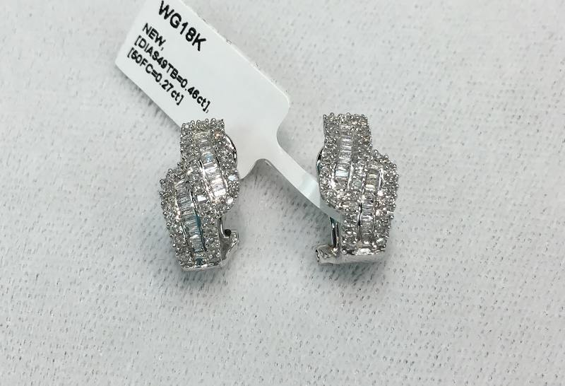 18K WG EARRINGS WITH 100 DIAMONDS- WERE $1,870.00
