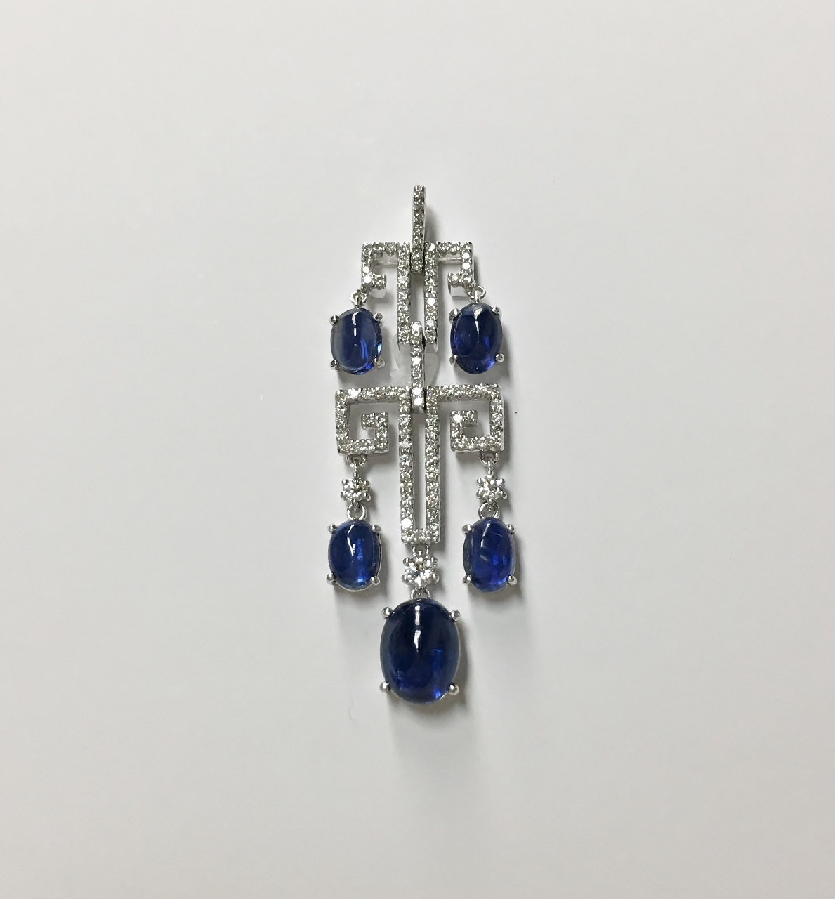 18K White Gold Kyanite Diamond Pendant