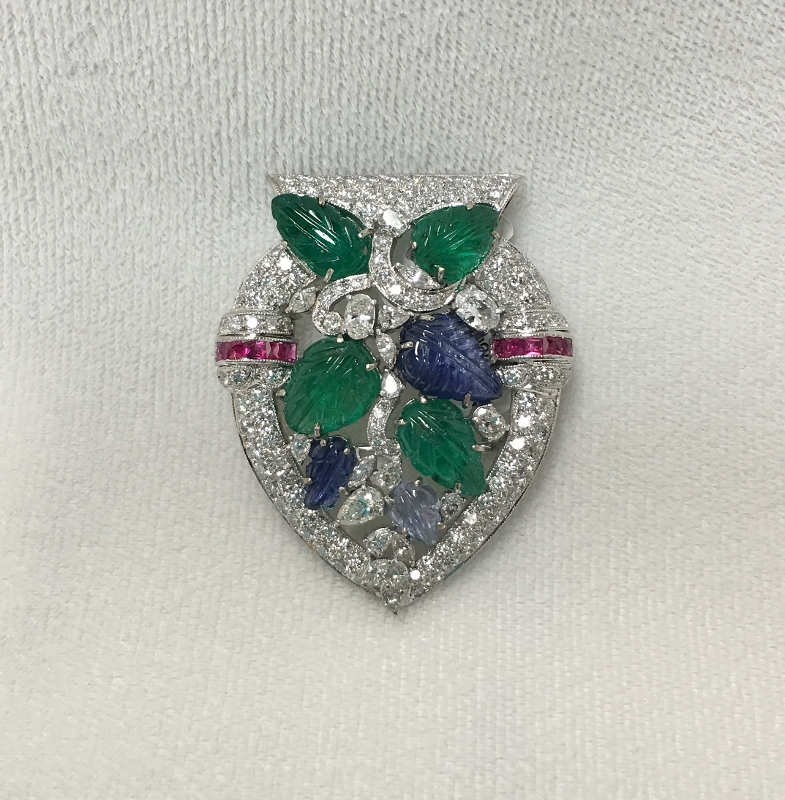 Antique Style Diamond Pendant Brooch