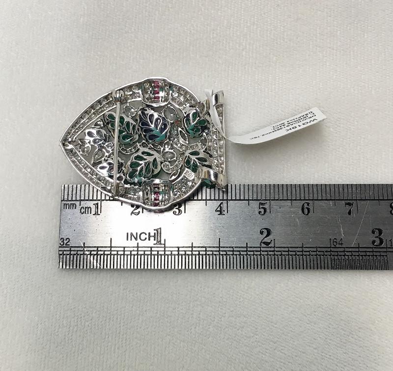 Antique Style Diamond Pendant Brooch