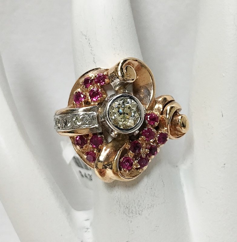 Retro 14K Rose Gold Diamond and Ruby Ring