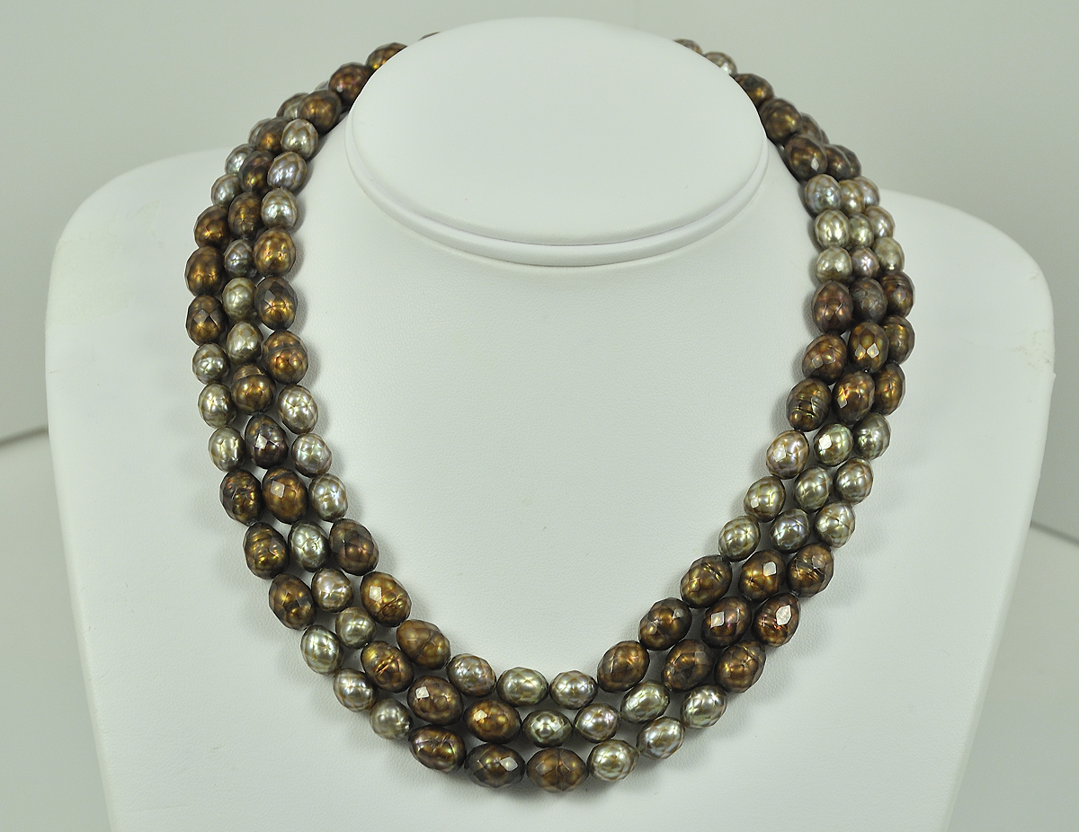 3-Strand Brown Fresh Water Pearl Necklace