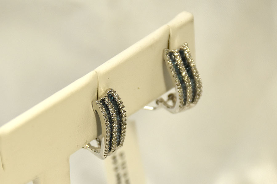 Unique 14K White Gold Blue Diamond Earrings