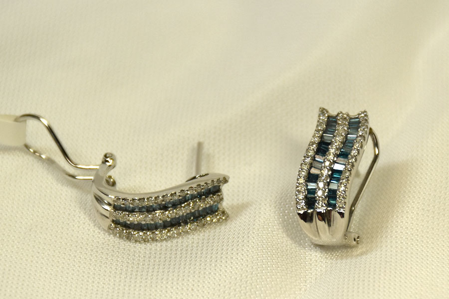 Unique 14K White Gold Blue Diamond Earrings