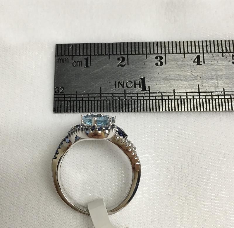 18K White Gold Aquamarine Diamond Ring