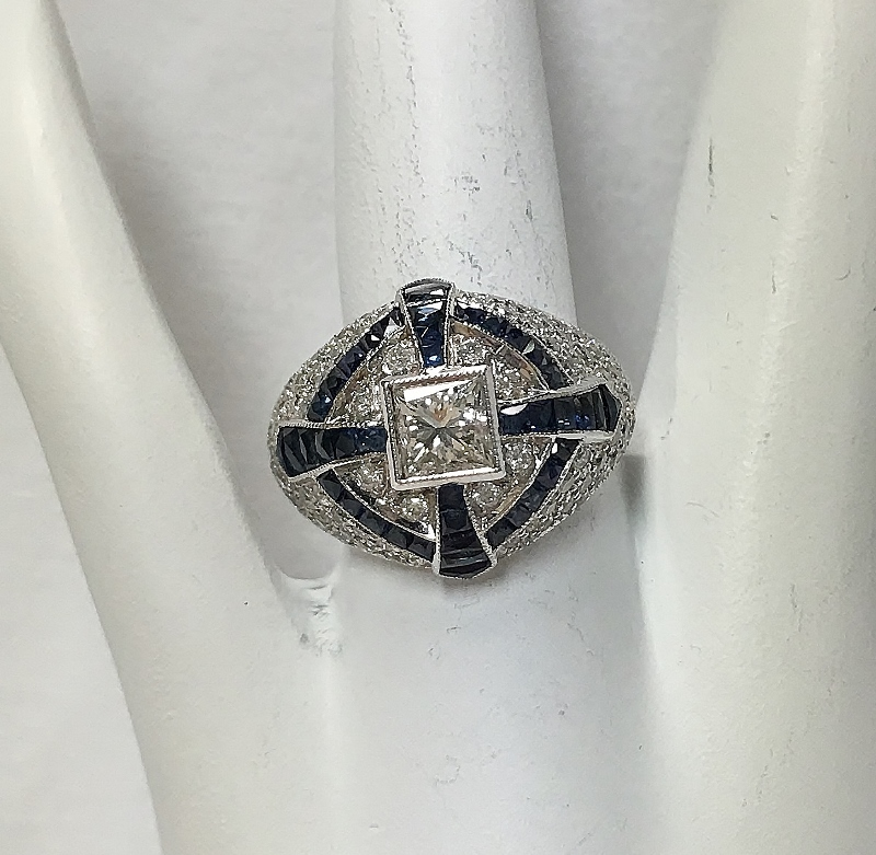 Vintage Inspired 18K White Gold Diamond Ring