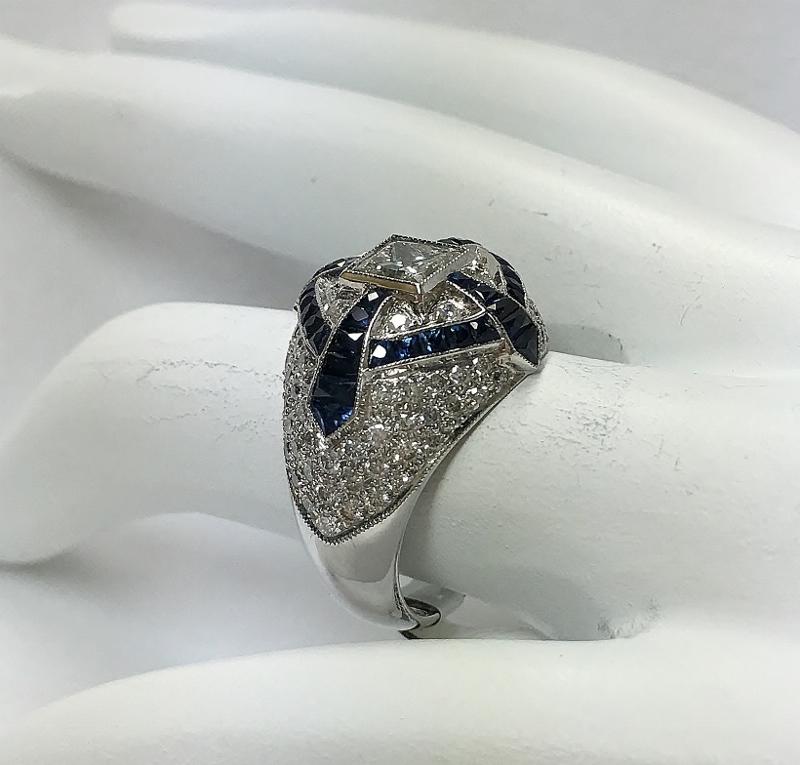 Vintage Inspired 18K White Gold Diamond Ring