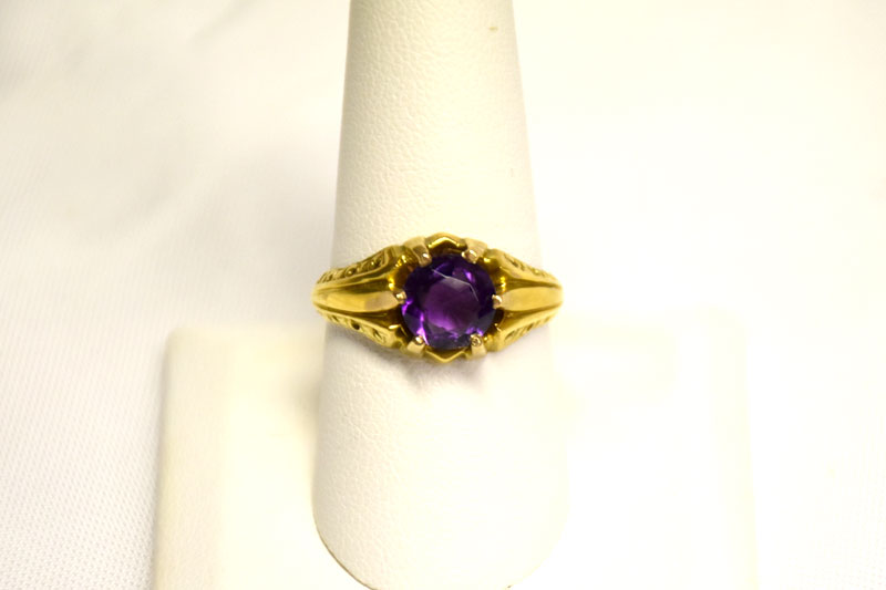 Lovely 14K Yellow Gold Amethyst Ring