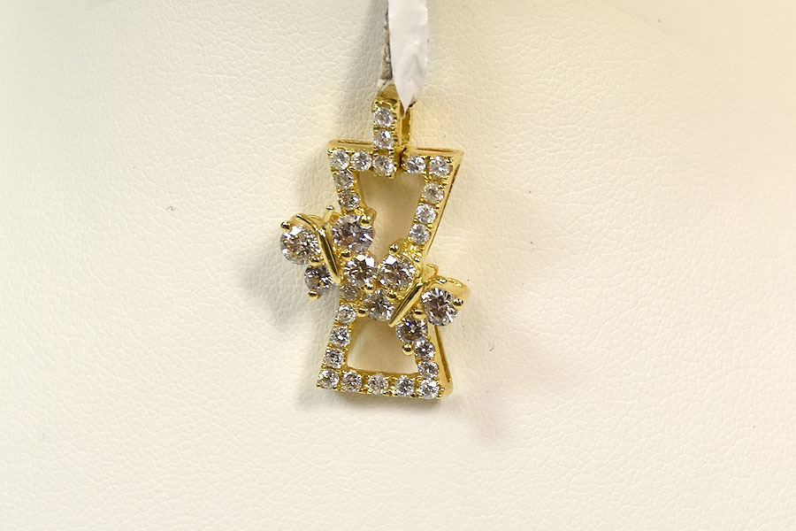 Over 1 Carat 18K Yellow Gold Diamond Pendant