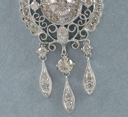 Elegant 18K White Gold Dangling Diamond Pendant