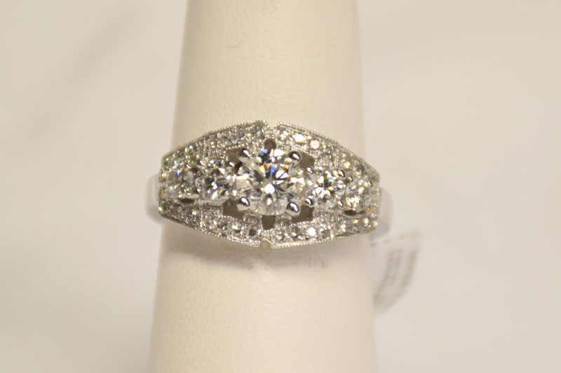 Over 1 Carat Total Weight 18K White Gold Diamond Ring