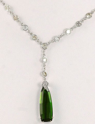 Simple 18K White Gold Tourmaline and Diamond Necklace