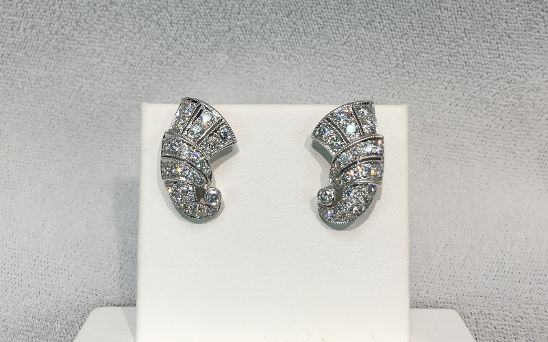 Glamorous 18K White Gold 1.50 Carats TW Diamond Earrings