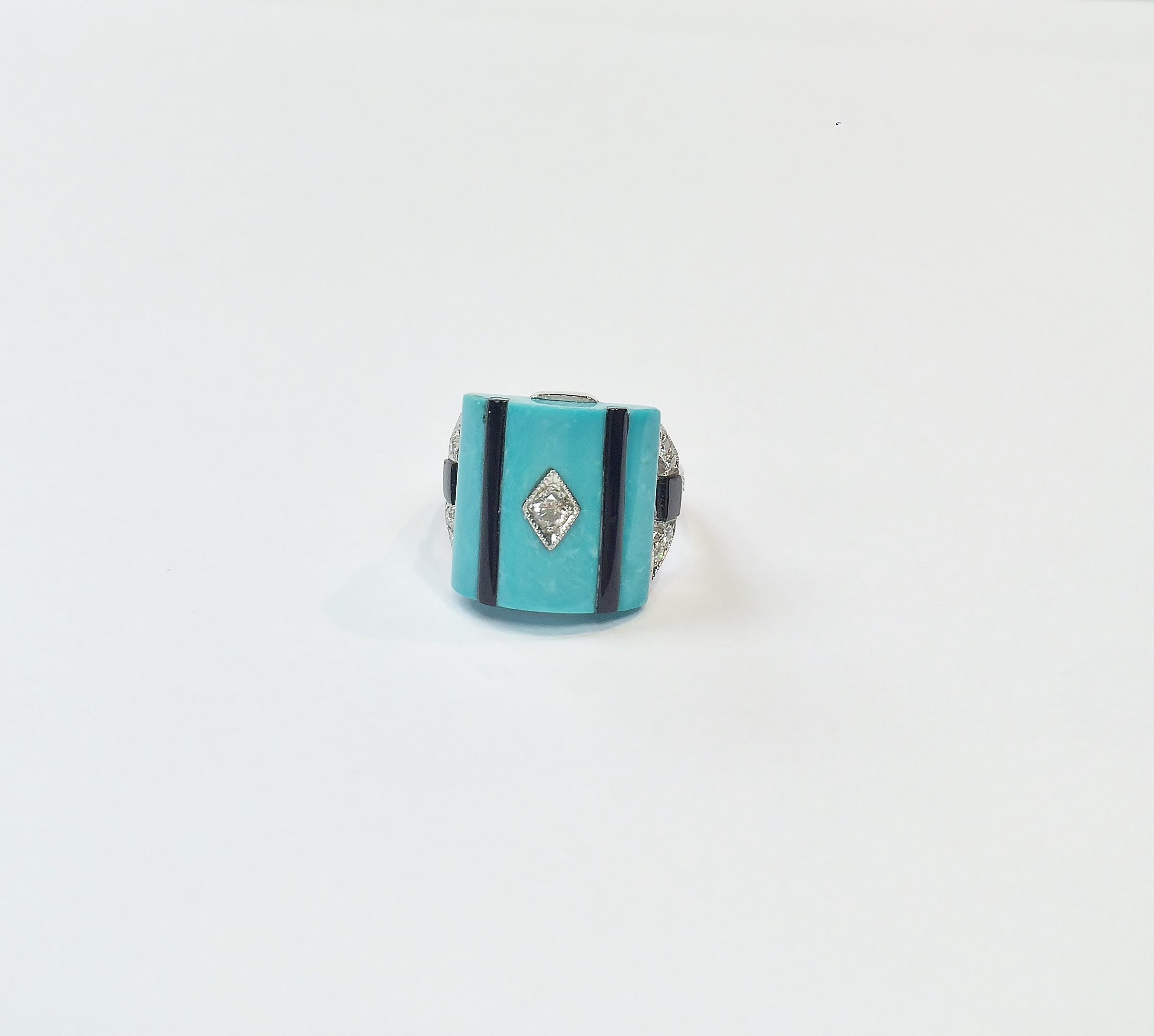 Antique Style Turquoise Diamond Ring
