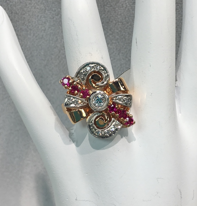 Retro 14K Rose Gold Ruby and Diamond Ring