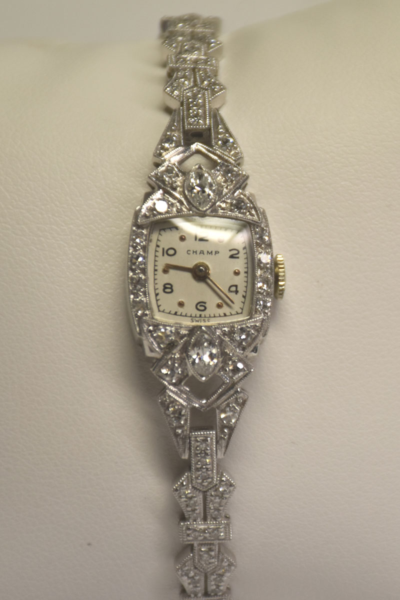 Beautiful Platinum and 18K White Gold Diamond Wristwatch