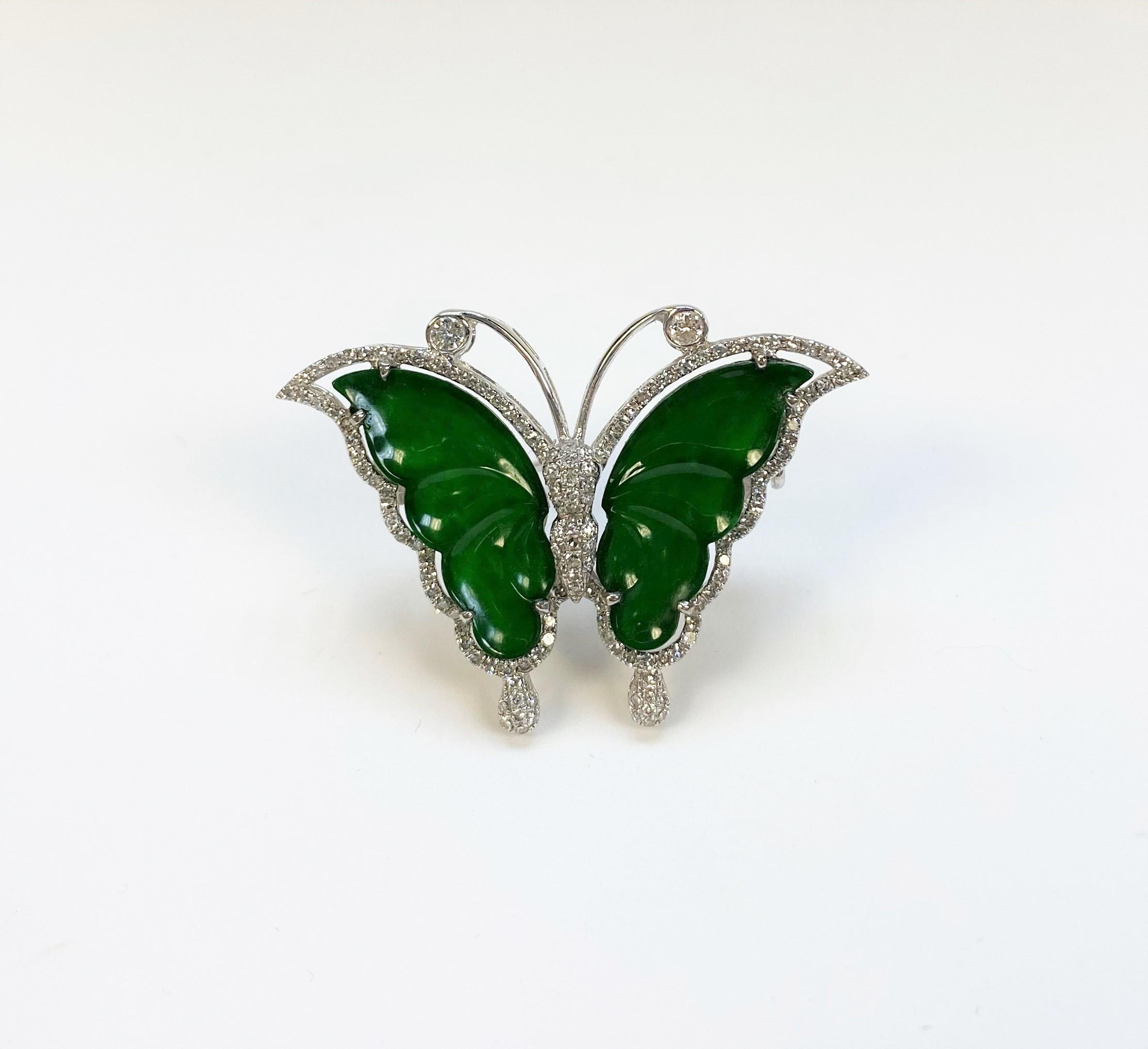 White Gold Butterfly Jade Diamond Pendant/Brooch
