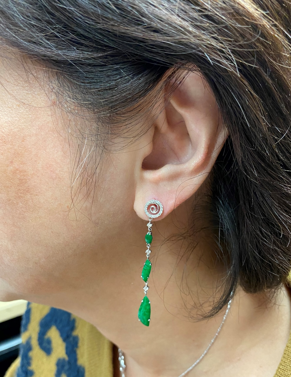 Dangling Green Jade Earrings In White Gold