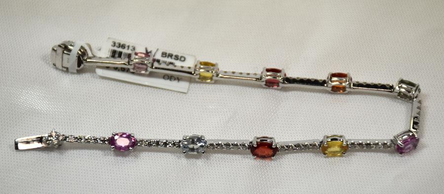 Elegant 18K White Gold Color-Sapphire and Diamond Bracelet