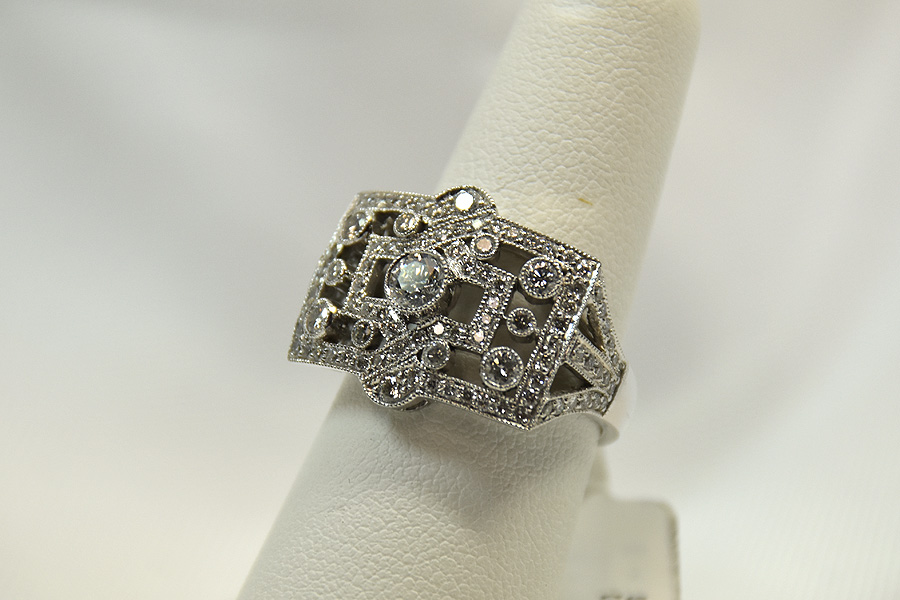 Over A Carat TW White Gold Diamond Ring