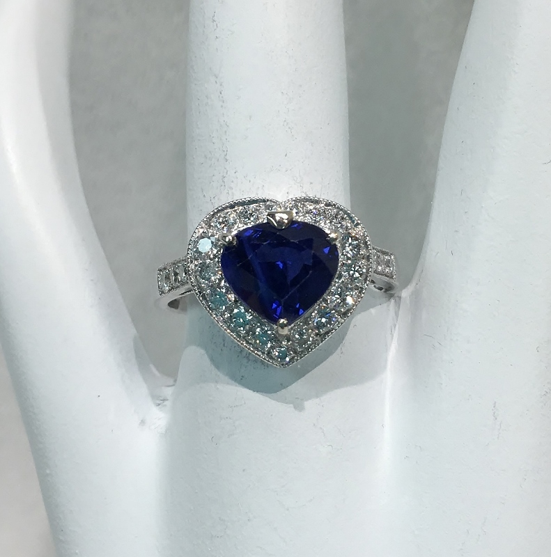 Spectacular Heart Shape Sapphire and Diamond Ring