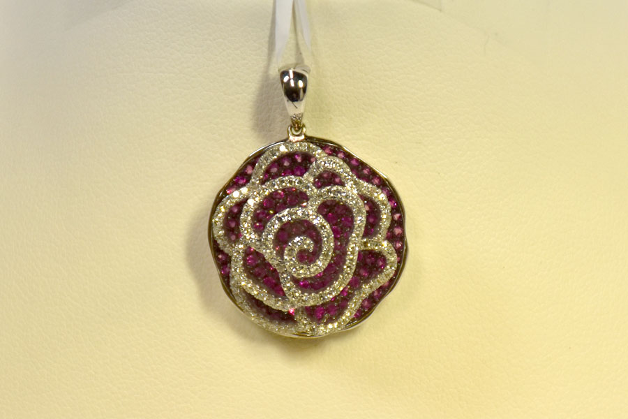 Sensational 14K White Gold Pink Sapphire and Diamond Pendant