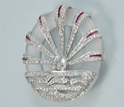 Unique 18K White Gold Diamond, Ruby, and Crystal Brooch