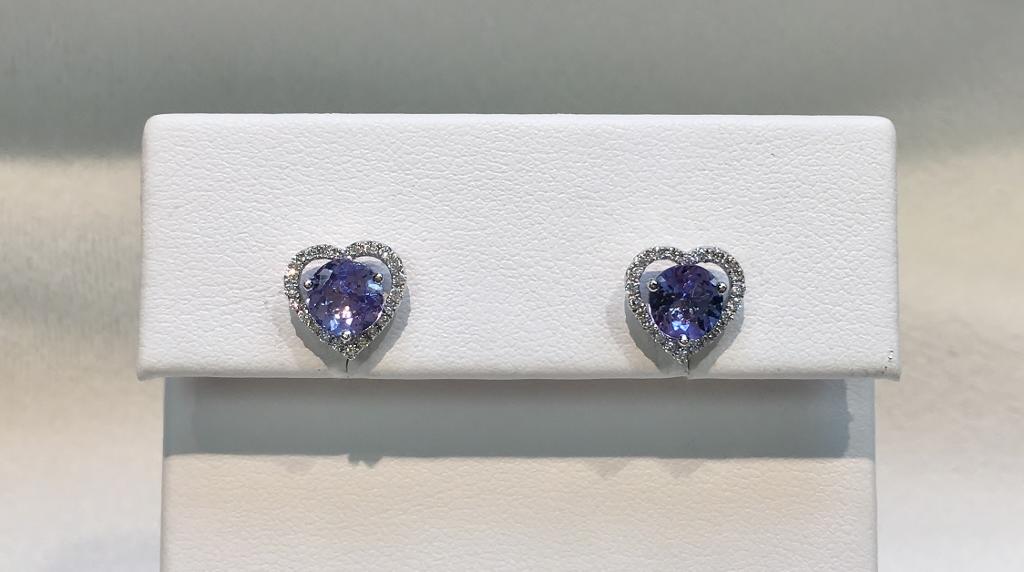 Amazing 18K White Gold Tanzanite and Diamond Earrings