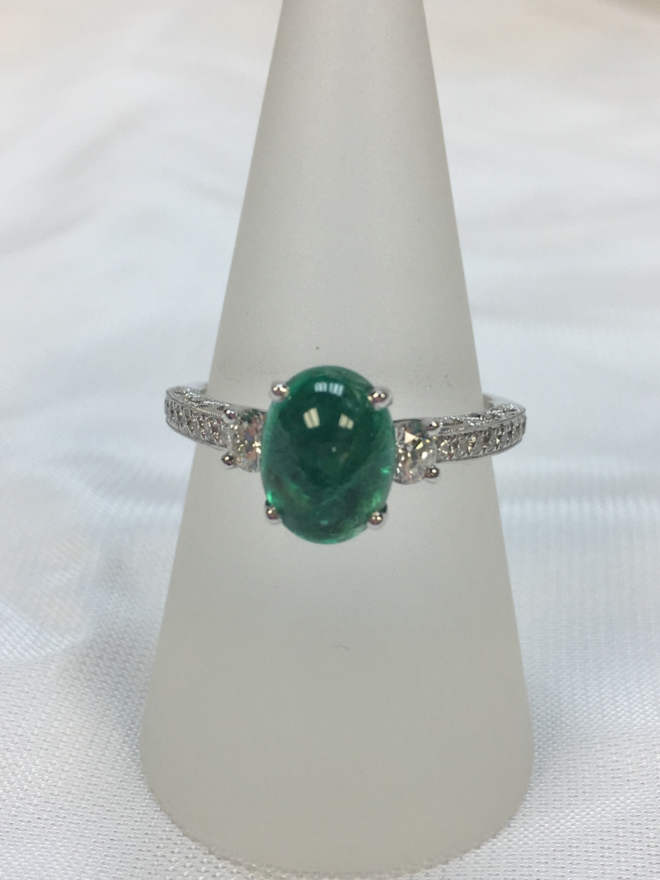 Over 2 Carats Cabochon Emerald Diamond White Gold Ring