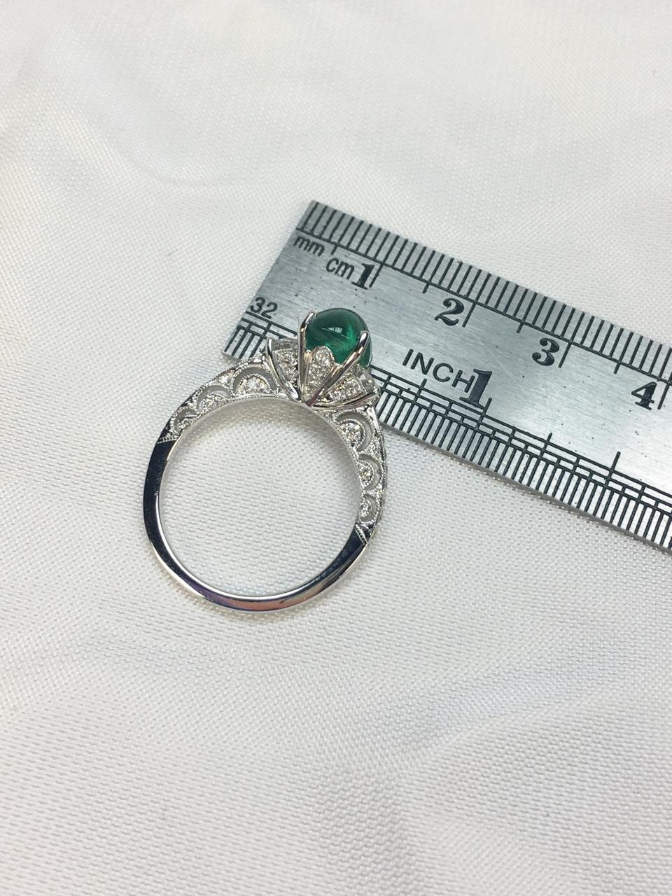 Over 2 Carats Cabochon Emerald Diamond White Gold Ring