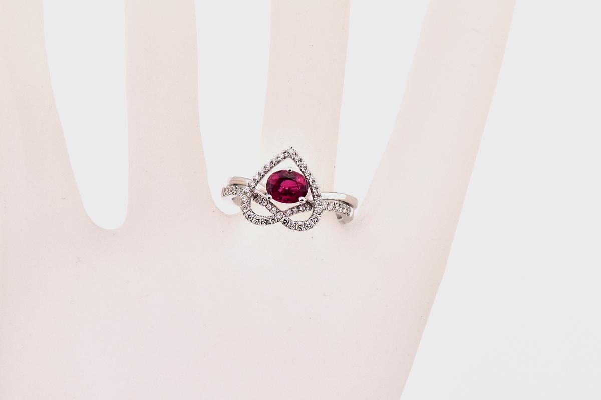 Lovely 18K White Gold Tourmaline and Diamond Wedding Ring Set