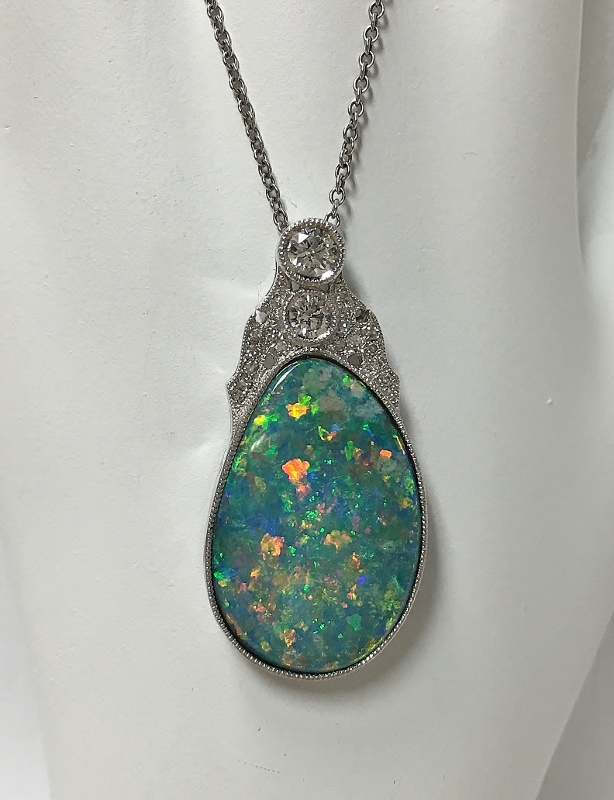 18K White Gold Australian Opal Pendant