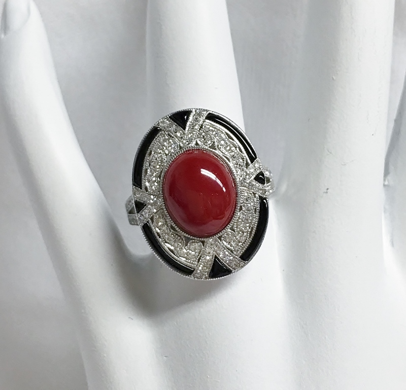 18K White Gold Red Coral, Diamond, & Onyx Ring