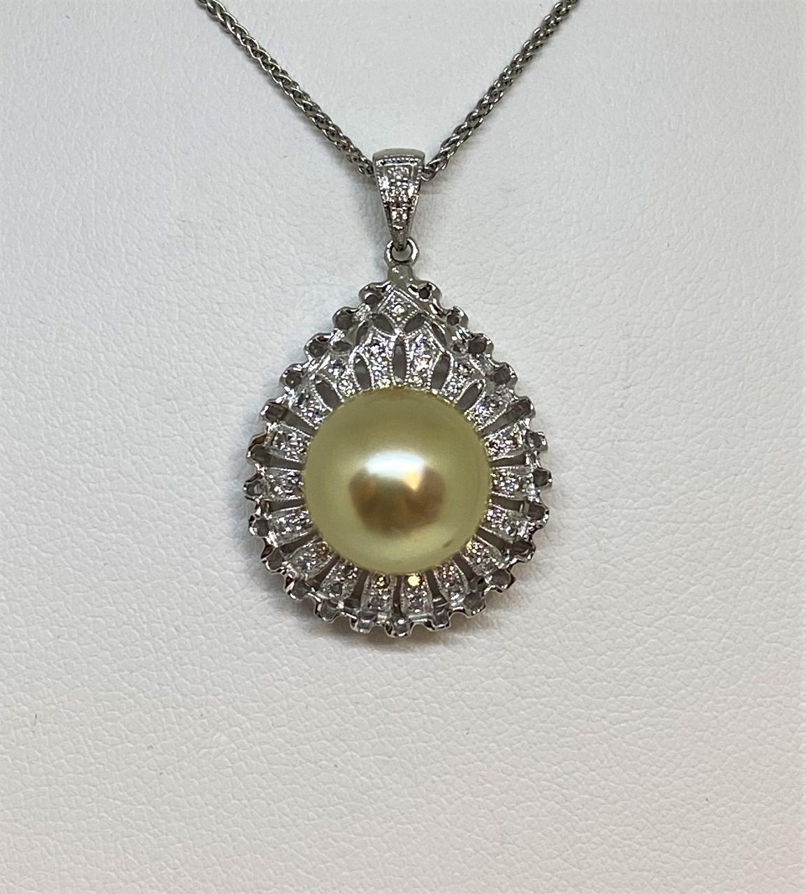 11 Millimeters Golden South Sea Pearl Pendant