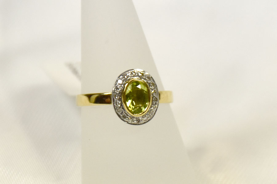 Gorgeous Silver and 14K Yellow Gold Peridot and Diamond Ring