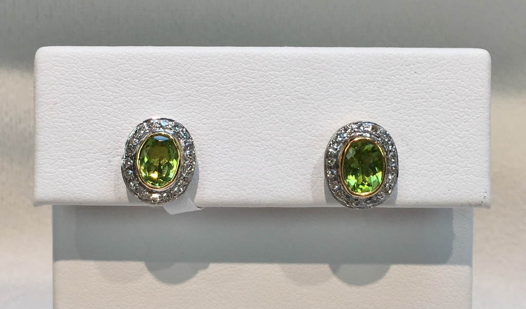 Gorgeous 14K Yellow Gold Silver Peridot and Diamond Earrings
