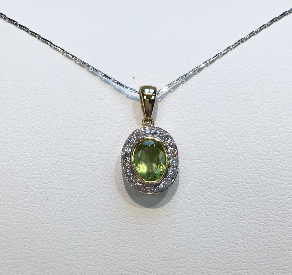 Magnificent Silver and 14K Yellow Gold Peridot and Diamond Penda