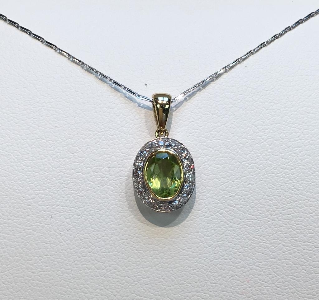Magnificent Silver and 14K Yellow Gold Peridot and Diamond Penda
