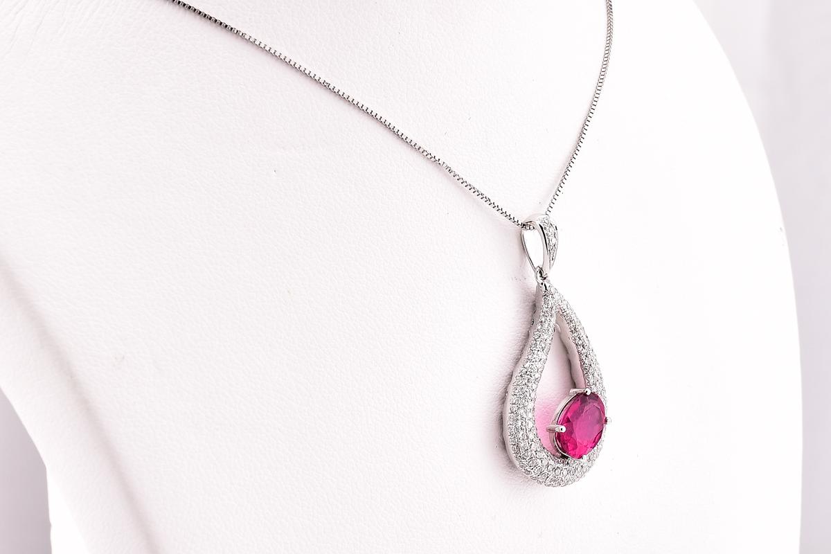 Sensational 14K White Gold Pink Tourmaline and Diamond Pendant